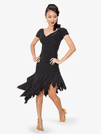 Womens Draped Yoke Short Sleeve Ballroom Dance Top