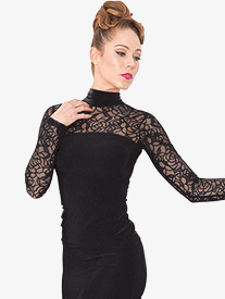 Womens Lace Long Sleeve Ballroom Dance Top