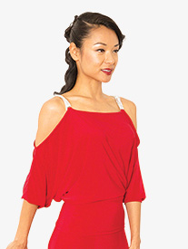 Womens Cold Shoulder Dolman Sleeve Ballroom Dance Top