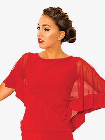 Womens Diagonal Mesh Cape Ballroom Dance Top