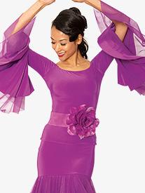 Womens Off-The-Shoulder Bell Sleeve Ballroom Dance Top