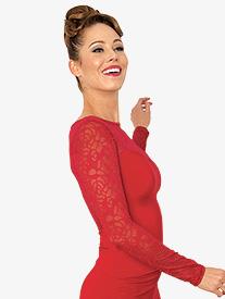 Womens Lace Black Long Sleeve Ballroom Dance Top