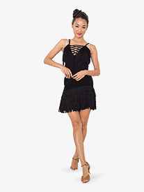 Womens Strappy Fringe Ballroom Dance Camisole Top