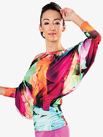 Womens Ruched 3/4 Batwing Sleeve Ballroom Dance Top