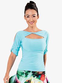 Womens Front Cutout Short Sleeve Ballroom Dance Top