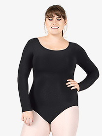 Adult Plus Size Long Sleeve Cotton Leotard