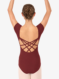Adult Short Sleeve Strappy Back Dance Leotard