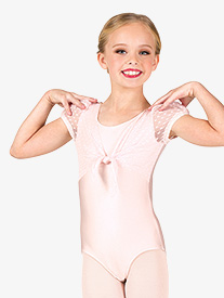 Girls Heart Flock Mesh Puff Short Sleeve Leotard