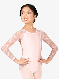Girls Heart Flock Mesh Long Sleeve Leotard