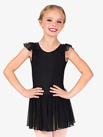 Girls Mesh Flutter Sleeve Ballet Dress
