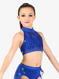 Girls Performance Sheer Twinkle Mesh Halter Bra Top