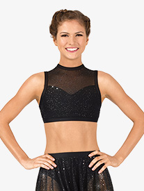 Womens Performance Twinkle Mesh High Neck Tank Bra Top
