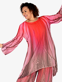 Womens Hand Painted Worship Long Sleeve Tunic