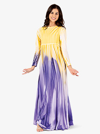Womens Plus Size Hand Painted Long Circle Worship Dress