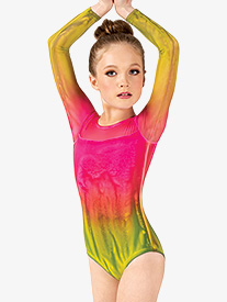 Girls Hand Painted Long Sleeve Leotard