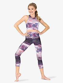 Womens Abstract Print High Waist Yoga Leggings