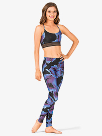 Womens Midnight Anemone Printed Workout Leggings