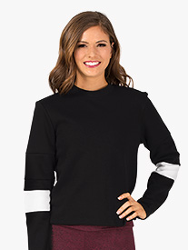 Womens Contrast Long Sleeve Workout Sweater