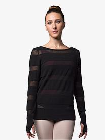 Womens Sheer Stripe Knit Warm Up Sweater