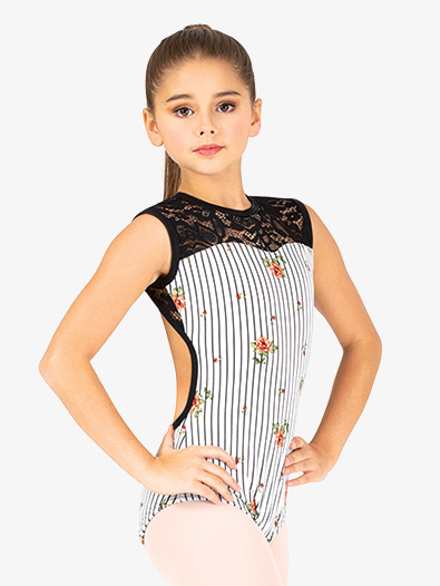 Girls Floral Stripe Tank Leotard - Style No 18061C