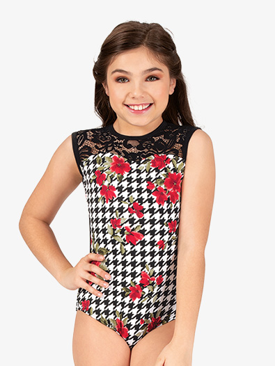 Girls Houndstooth Floral Tank Leotard - Style No 18062C