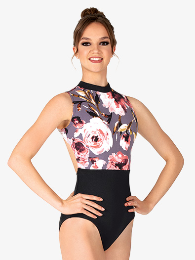 Womens Black Floral Tank Leotard - Style No 18189