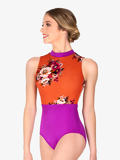 Womens Magenta Floral Tank Leotard - Style No 18190
