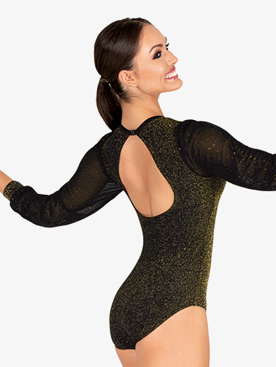 Womens Sparkle Back Keyhole Long Sleeve Leotard - Style No 20117A