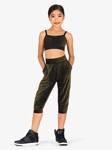 Girls Sparkle Cropped Dance Joggers - Style No 20407C