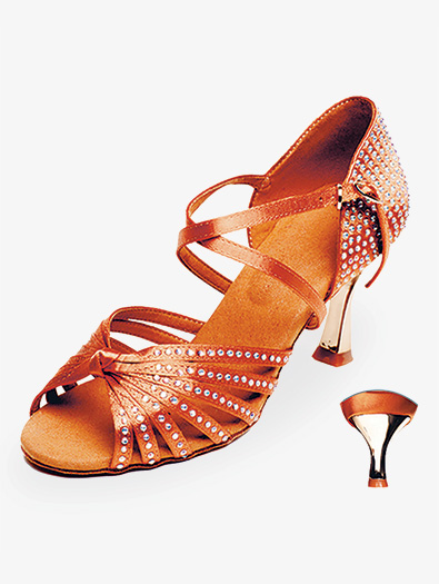 Womens Dark Tan Crystal Ballroom Shoes - Style No 209045