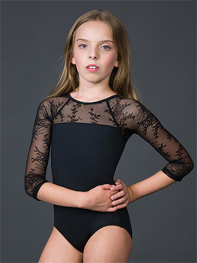 Girls Silver Shadow Illusion 3/4 Sleeve Leotard - Style No 2241C