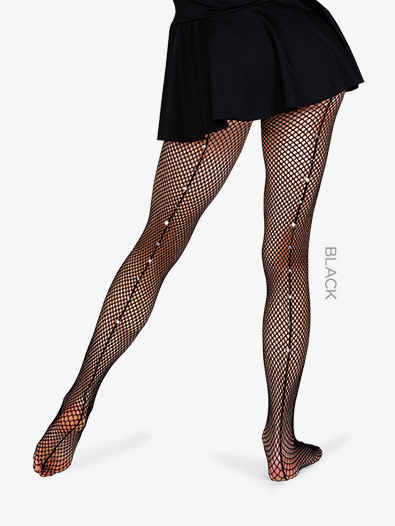 9d6b94ee9 Adult Single Use Footed Fishnet Tights with Rhinestone Back Seam - Style No  9133