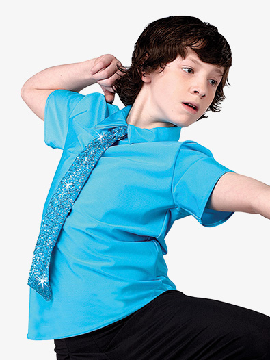 Boys Performance Sequin Tie Short Sleeve Top - Style No AW12758C