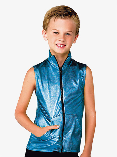 Boys Performance Metallic Denim Vest - Style No AW13109C