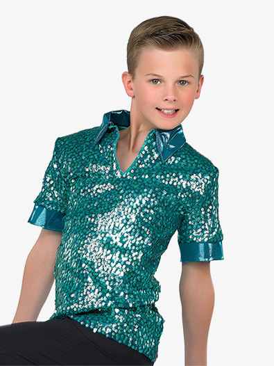 Boys Performance Matte Sequin Short Sleeve Top - Style No AW17779C