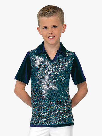 Boys Performance Sequin Mesh Top - Style No AW18017C