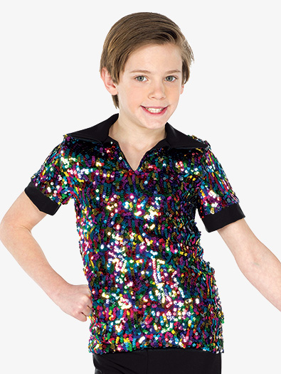 Mens Performance Multicolor Sequin Short Sleeve Top - Style No AW19221
