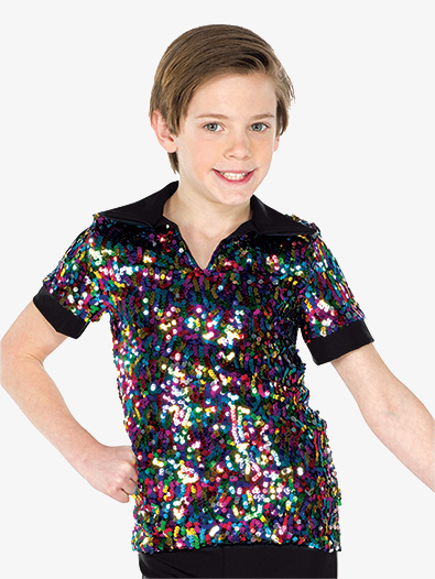 Boys Performance Multicolor Sequin Short Sleeve Top - Style No AW19221C
