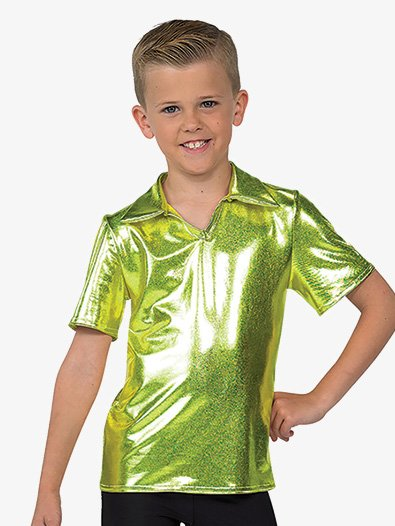 Boys Performance Metallic Collared Short Sleeve Top - Style No AW333NC