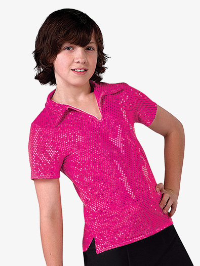 Boys Performance Sequin Dot Short Sleeve Top - Style No AW3581C