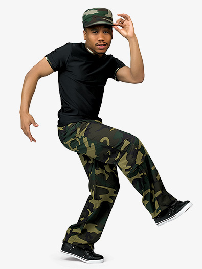 Mens Camouflage Print Performance Dance Costume Pants - Style No AW7023PN