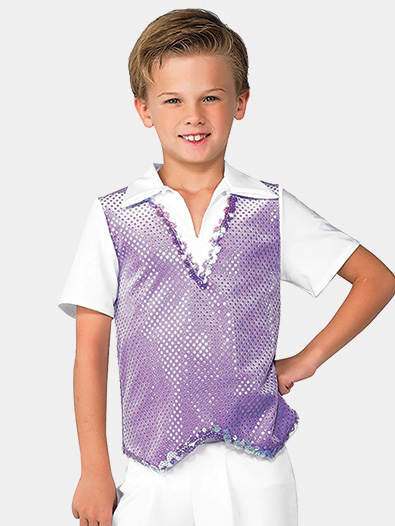 Boys Sequin Dot Velvet Performance Top - Style No AWH516C