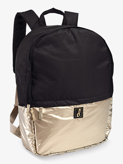 Black and Gold Metallic Puffer Dance Backpack - Style No B466BK