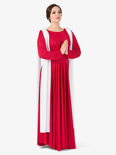 Womens Attached Scarf Worship Dress - Style No BT5195