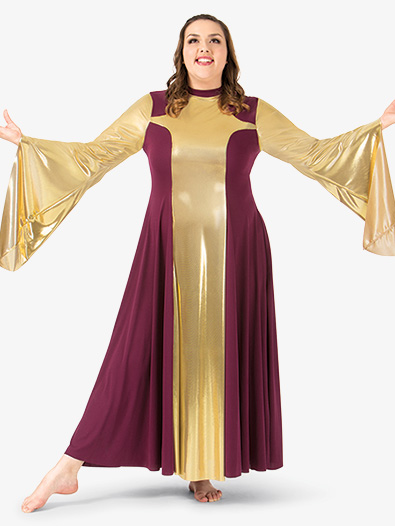Womens Plus Size Metallic Worship Dress - Style No BT5197Px