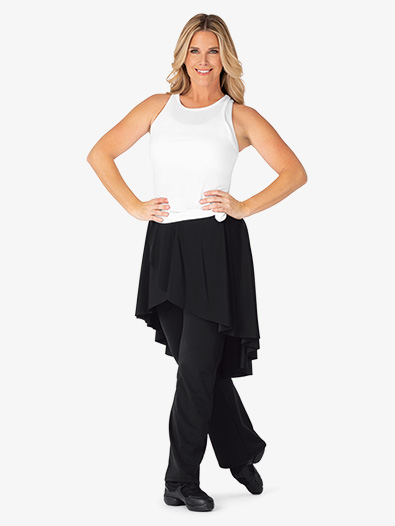 Womens High-Low Mock Skirt Boot Cut Dance Pants - Style No BT5233