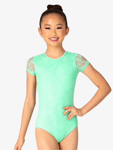 Girls Lace Overlay Short Sleeve Leotard - Style No BT5251C