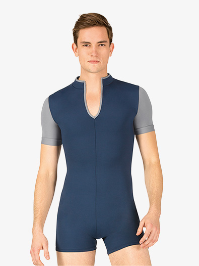 Mens Colorblock Dance Short Sleeve Shorty Unitard - Style No BT5304
