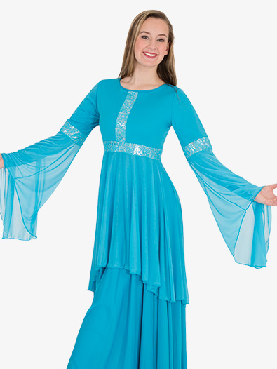 Girls Lace Insert Drapey Metallic Worship Tunic - Style No BW0622