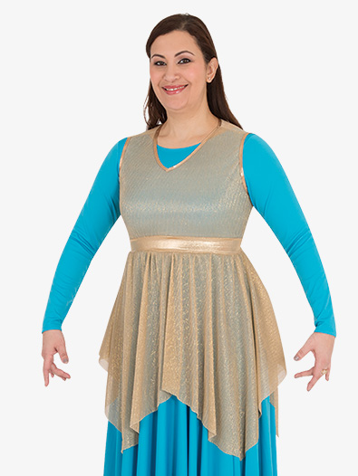 Girls Metallic Micro Pleated Worship Tunic - Style No BW0682